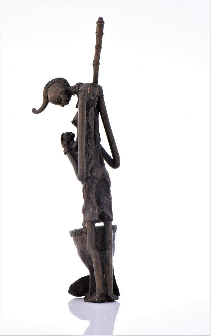 African Dogon Bronze Sculpture of A Mother Nursing - 3
