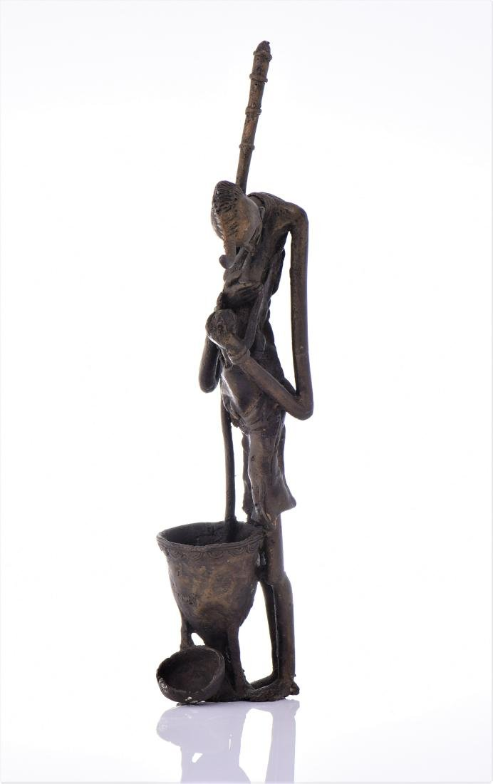 African Dogon Bronze Sculpture of A Mother Nursing - 4