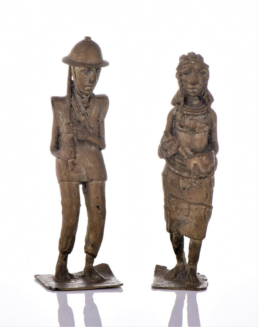 Two Antique Colonial Brass South African Sculpture