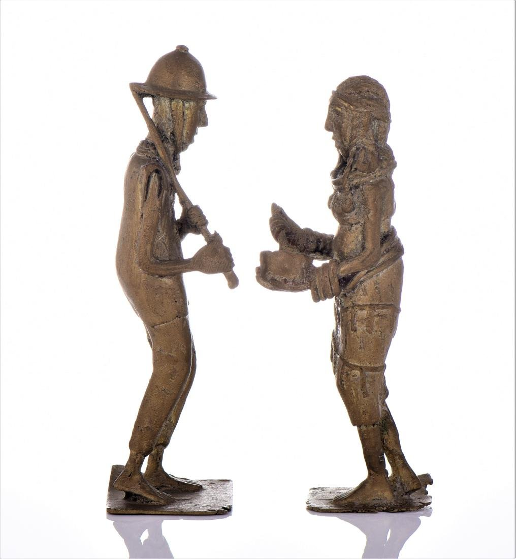 Two Antique Colonial Brass South African Sculpture - 3