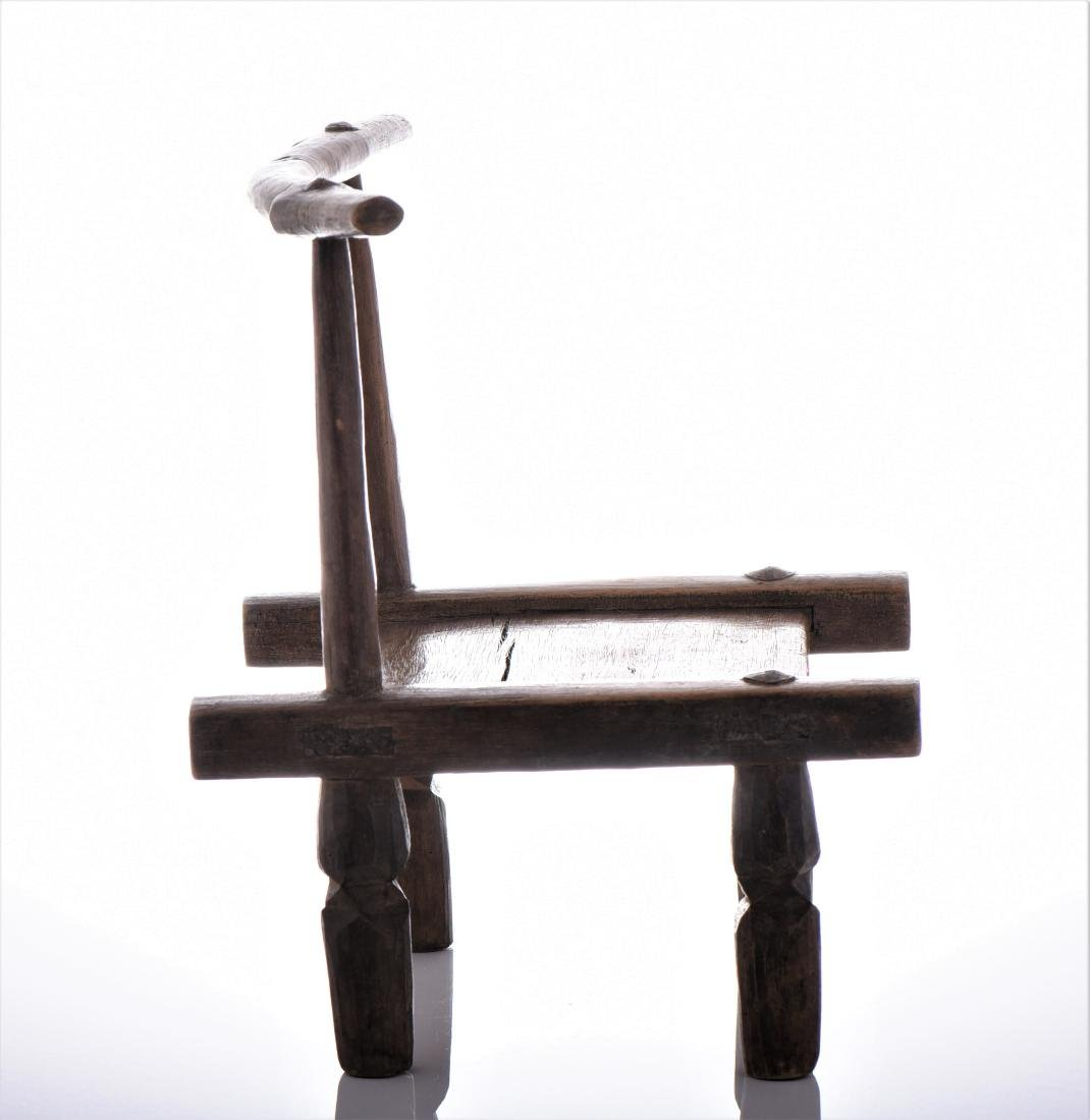 African Wood Carved Chair. - 2
