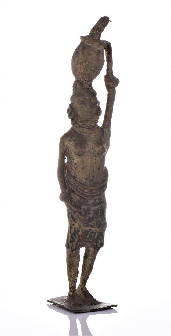 Antique Brass South African Sculptures of Woman