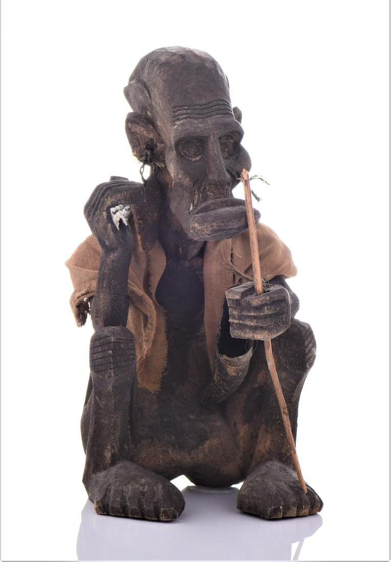 African Tribal Medicine Man Wood Sculpture.
