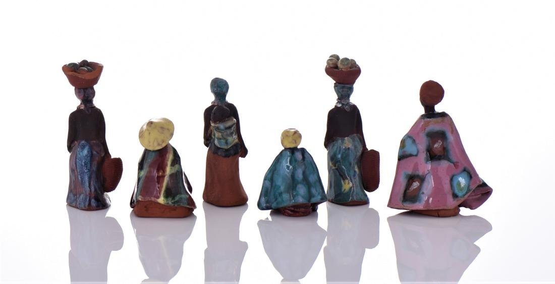 Six Vintage South African Hand Painted Glazed Clay - 2