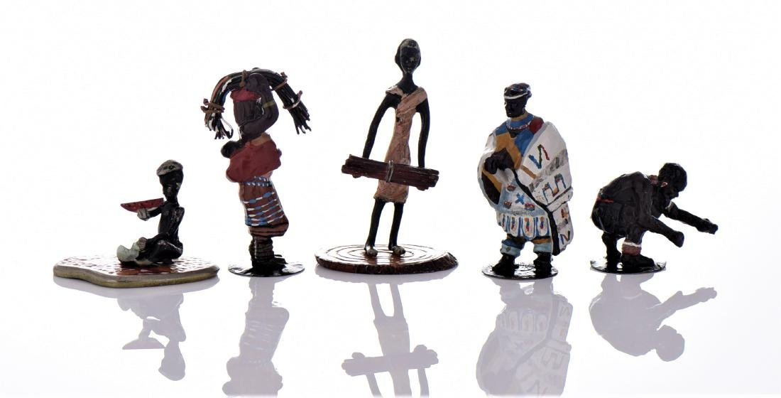 Five Vintage South African Hand Painted Metal