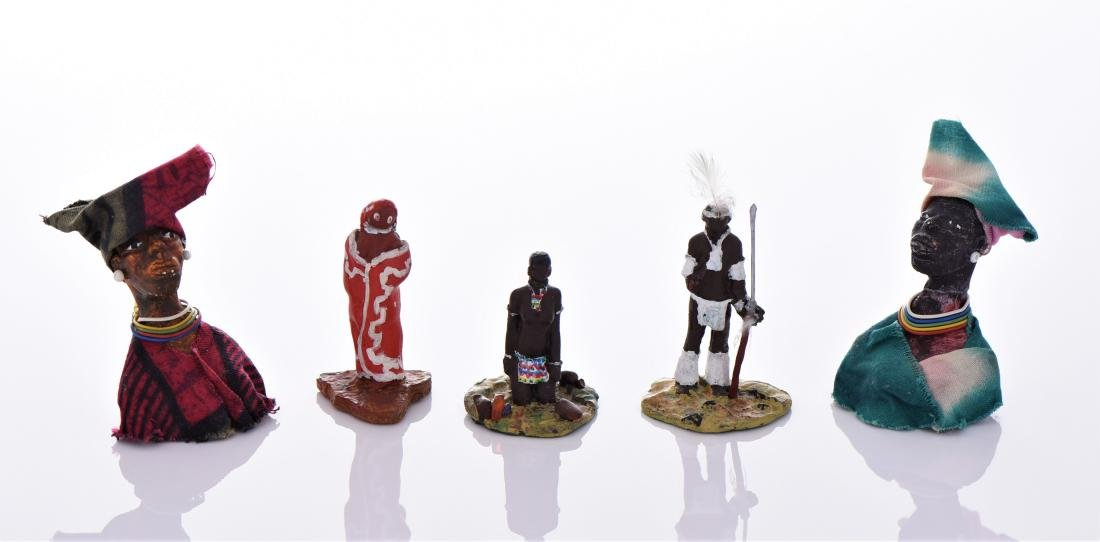Five Vintage South African Hand Painted Glazed