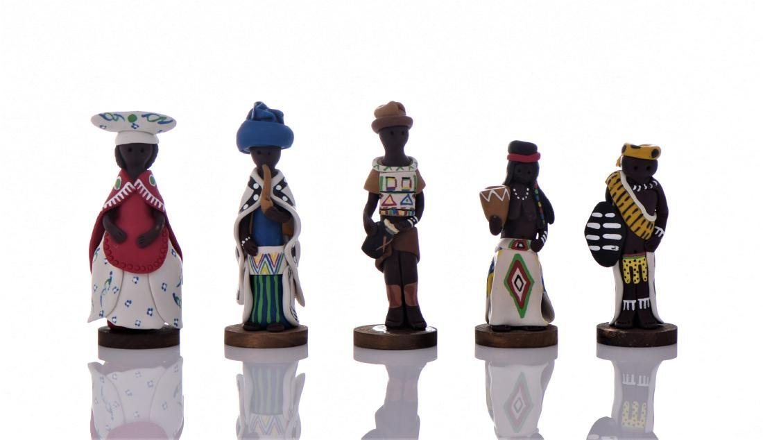 Five Vintage South African Hand Painted Clay