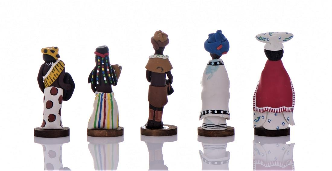 Five Vintage South African Hand Painted Clay - 2