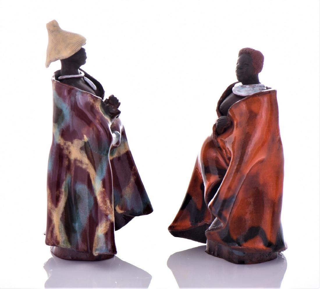 Two Vintage South African Glazed Clay Robed Figure - 2
