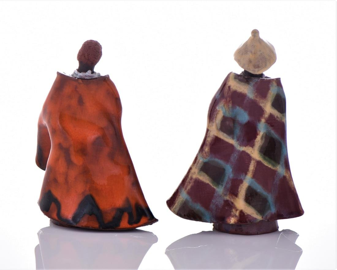 Two Vintage South African Glazed Clay Robed Figure - 3