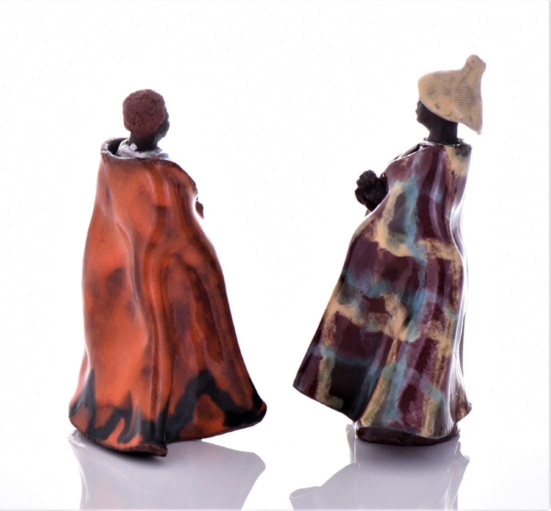 Two Vintage South African Glazed Clay Robed Figure - 4