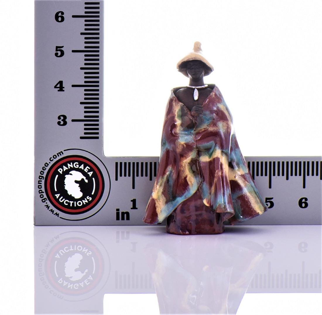 Two Vintage South African Glazed Clay Robed Figure - 6