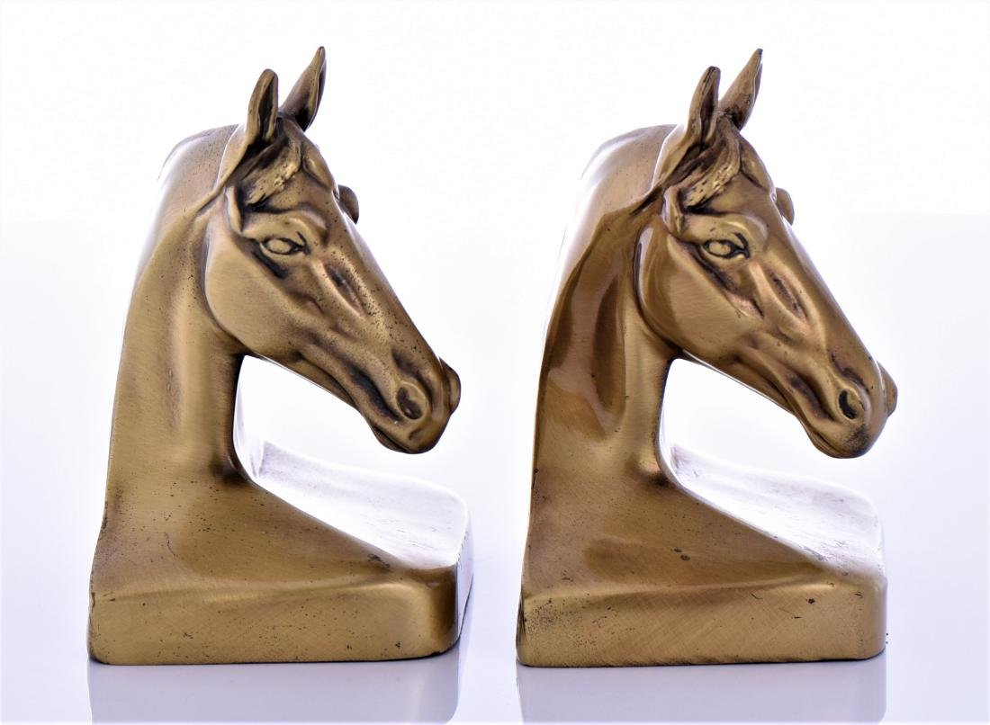 Two Vintage Heavy Brass Horse Head Bookends - 4
