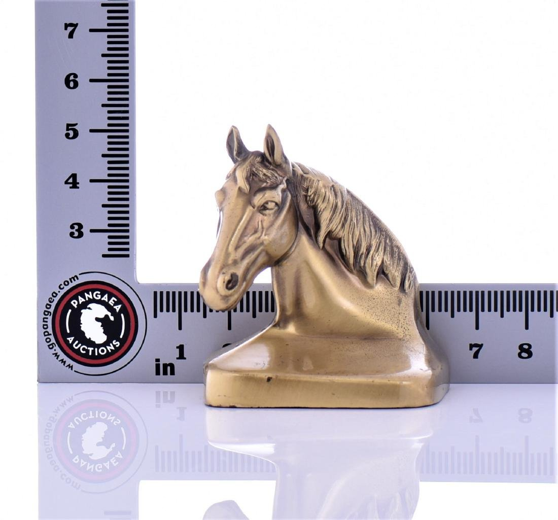 Two Vintage Heavy Brass Horse Head Bookends - 5