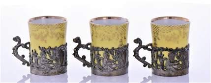 Three Vintage Porcelain Tea Cups