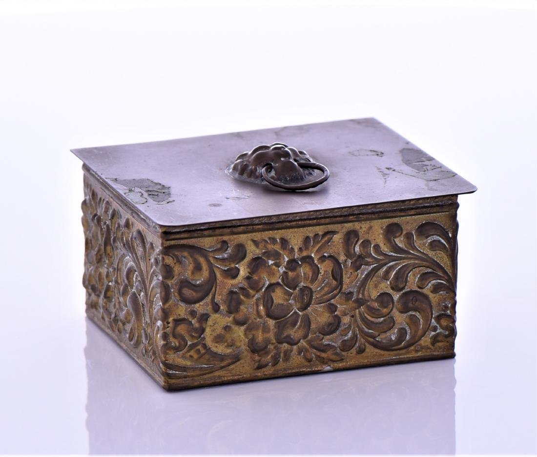 Vintage Brass Box With Lion Pull Ring