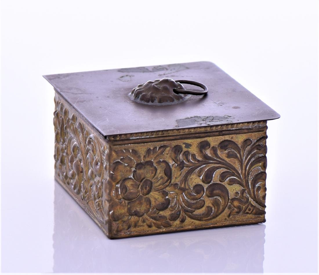 Vintage Brass Box With Lion Pull Ring - 2