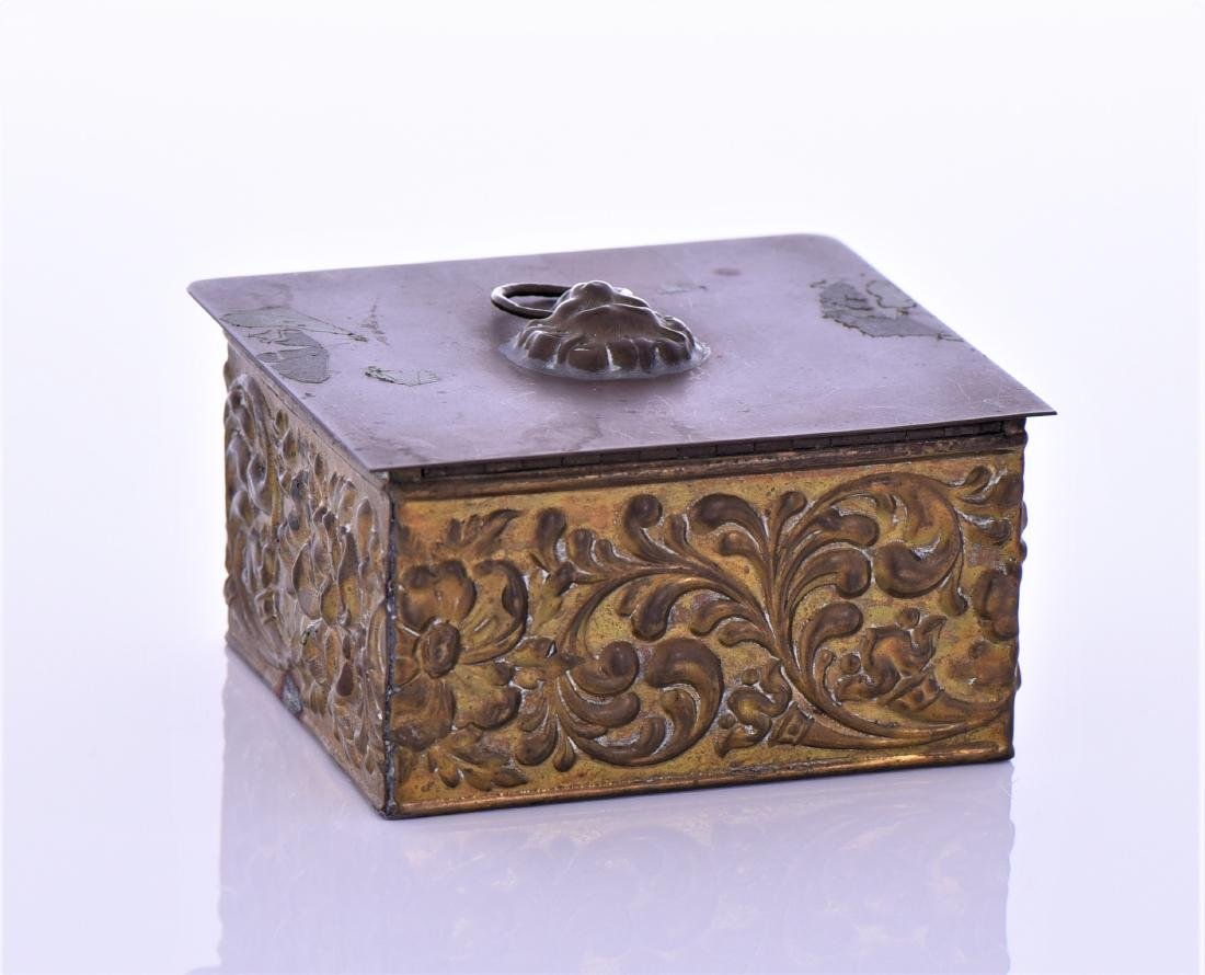 Vintage Brass Box With Lion Pull Ring - 3