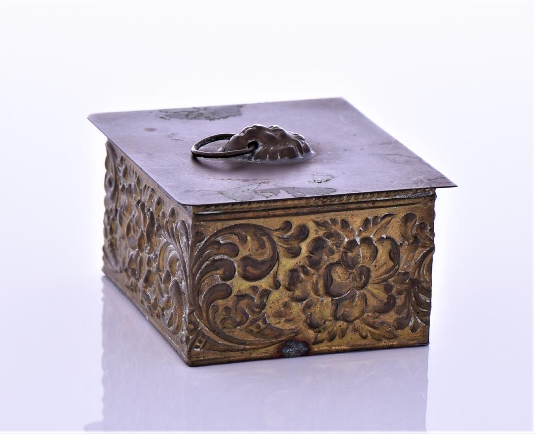 Vintage Brass Box With Lion Pull Ring - 4