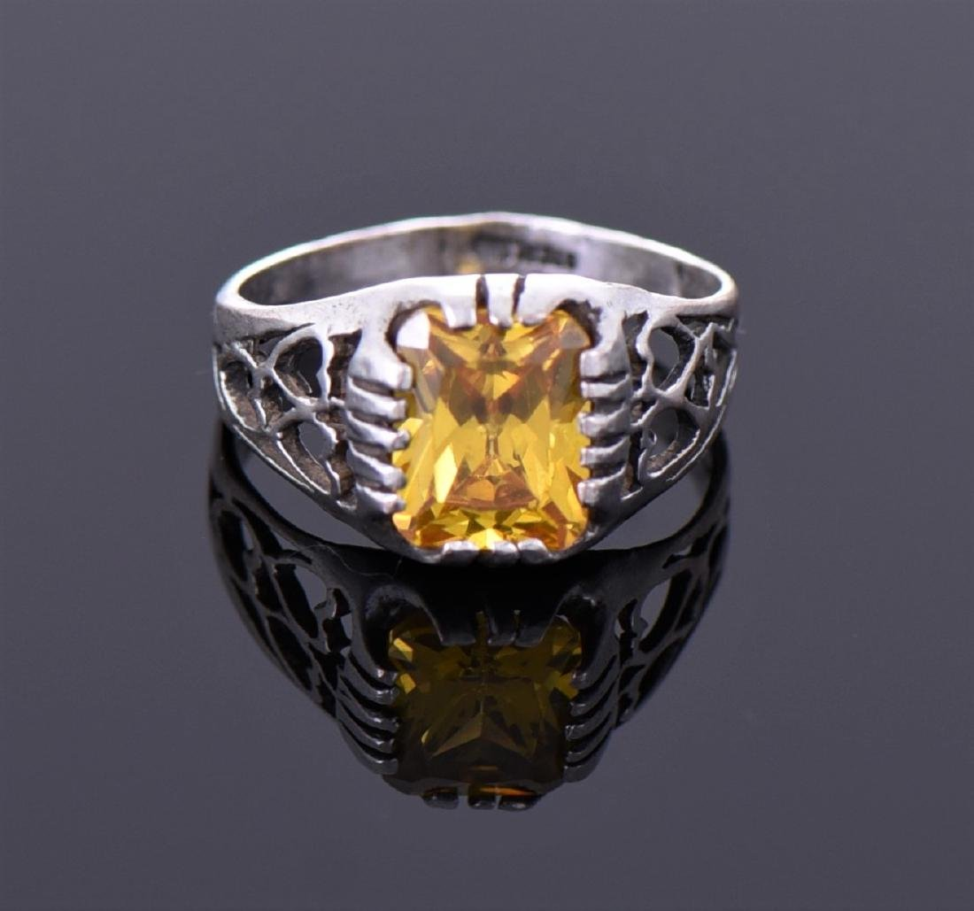 Citrine Sterling Silver Ring With Heart