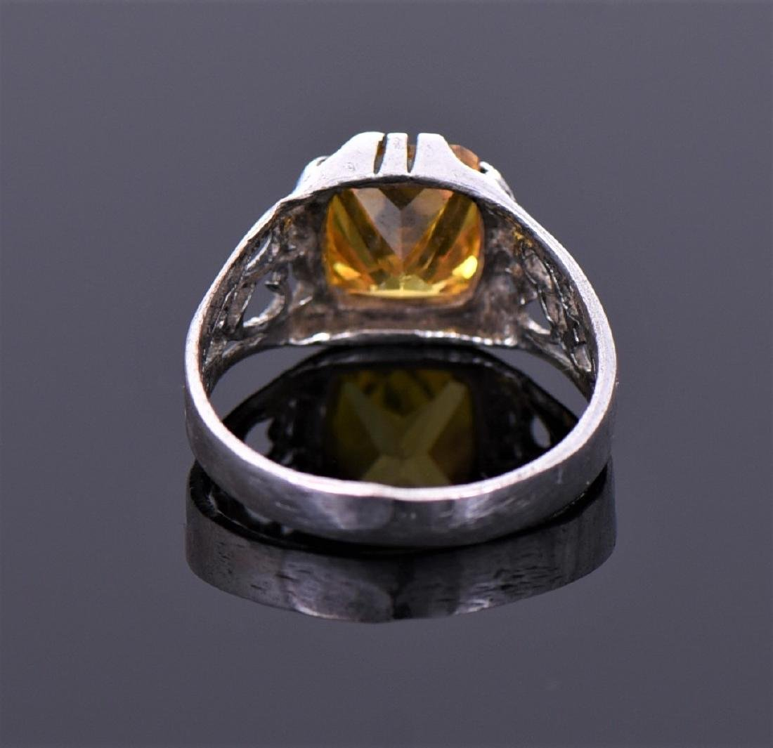 Citrine Sterling Silver Ring With Heart - 2