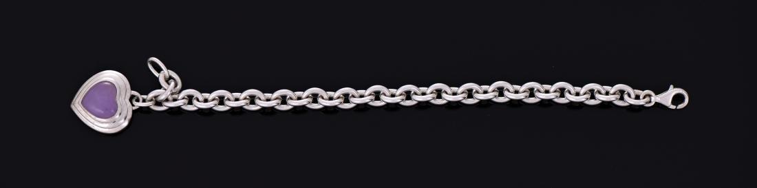 Sterling Silver Amethyst Heart Bracelet.
