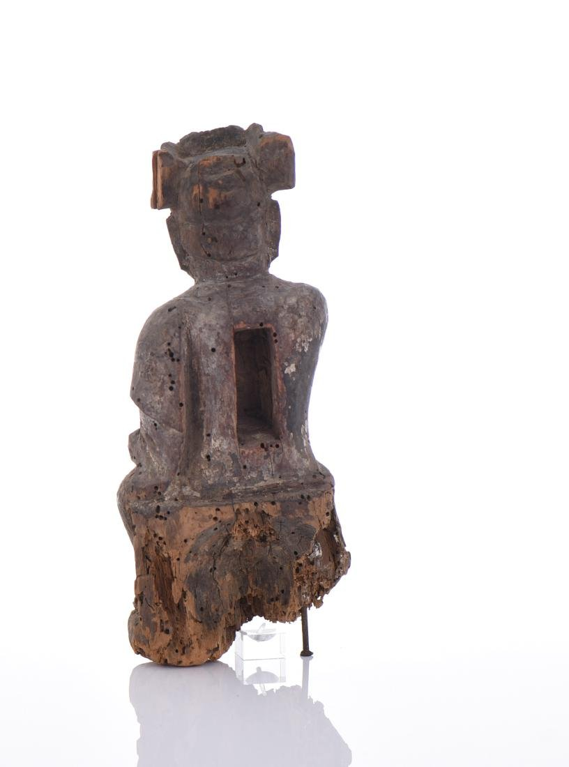 Early Qing Dynasty Polychrome Wooden Sculpture - 3