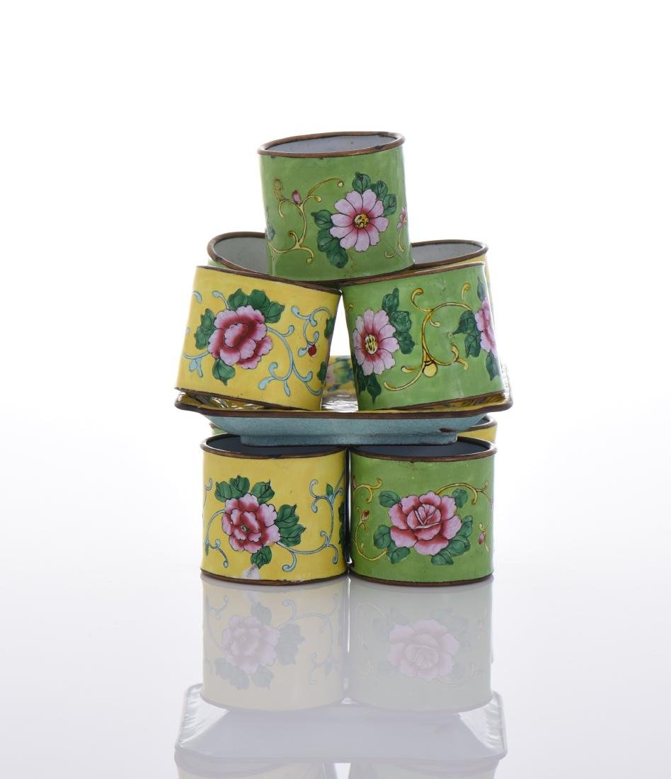 Enameled Bronze Plate And Napkin Rings. - 4
