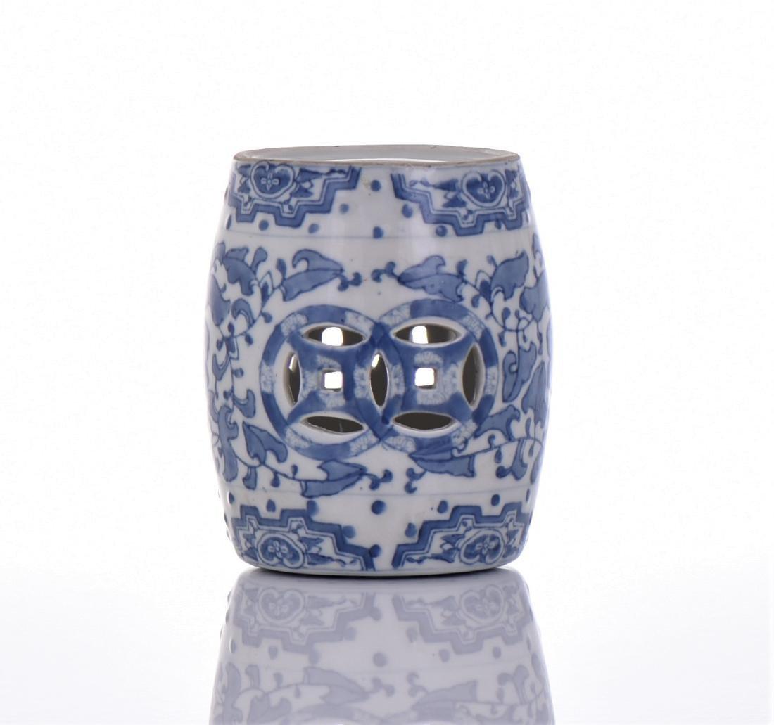 Blue And White Porcelain Miniature Garden Stool