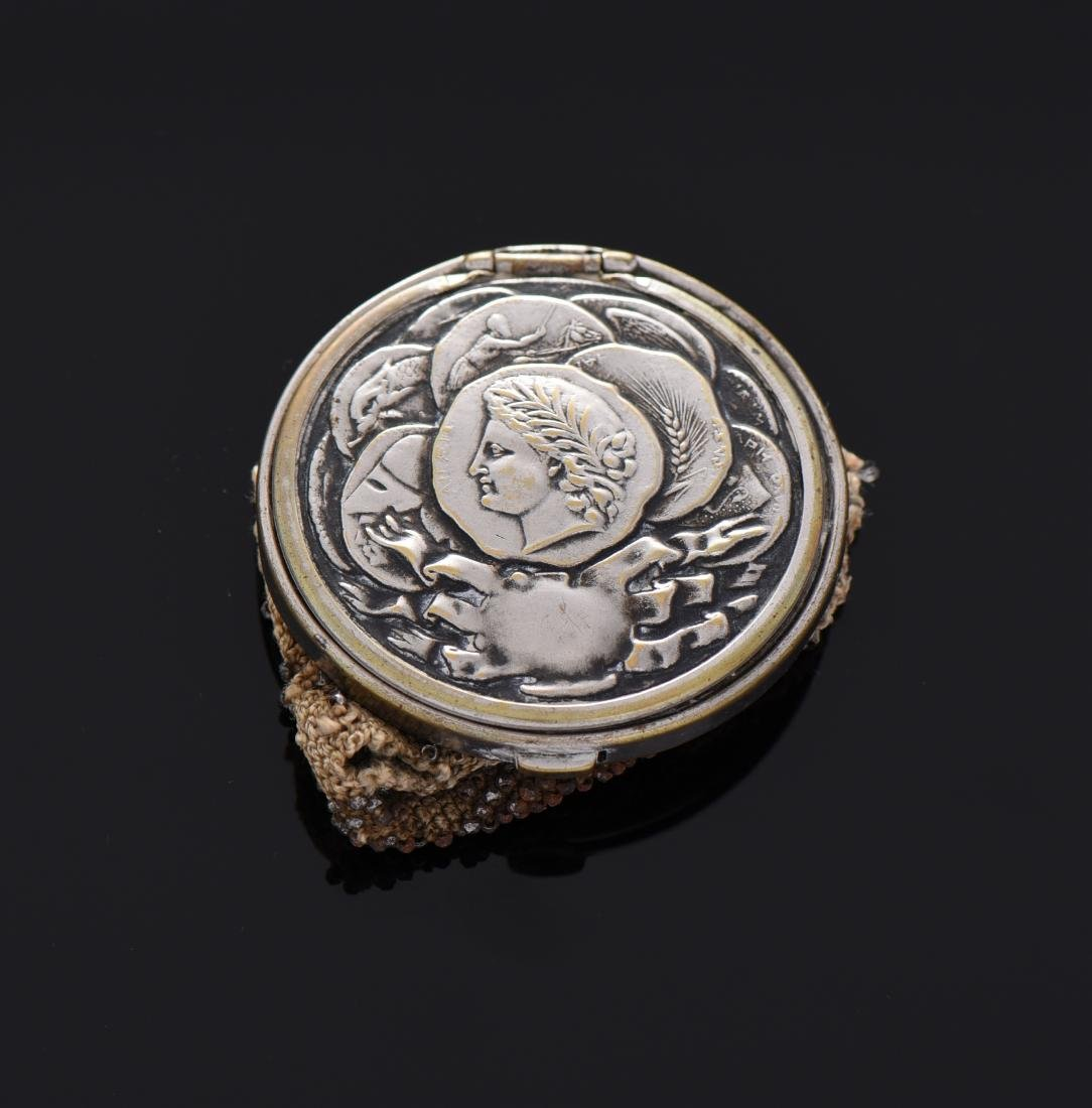1890 Silver Plated Beaded Coin Purse