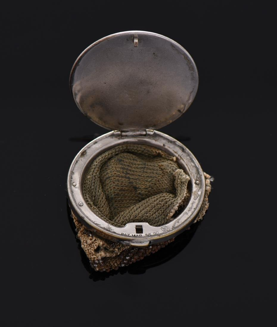 1890 Silver Plated Beaded Coin Purse - 2