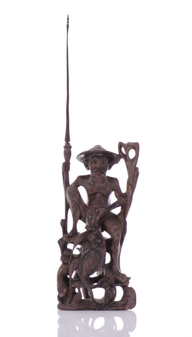 Wood Carved Fisherman Sculpture.