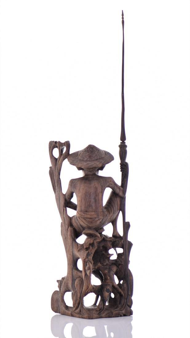 Wood Carved Fisherman Sculpture. - 2