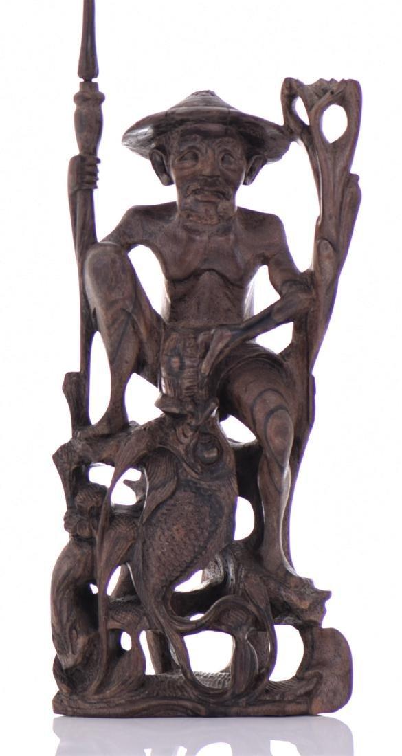 Wood Carved Fisherman Sculpture. - 3