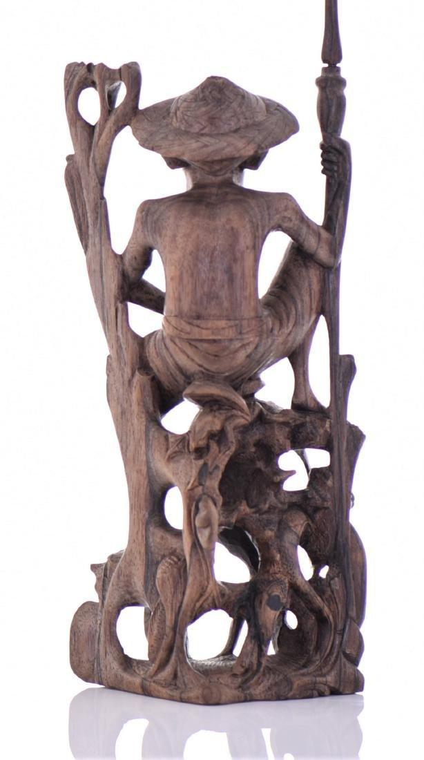 Wood Carved Fisherman Sculpture. - 4