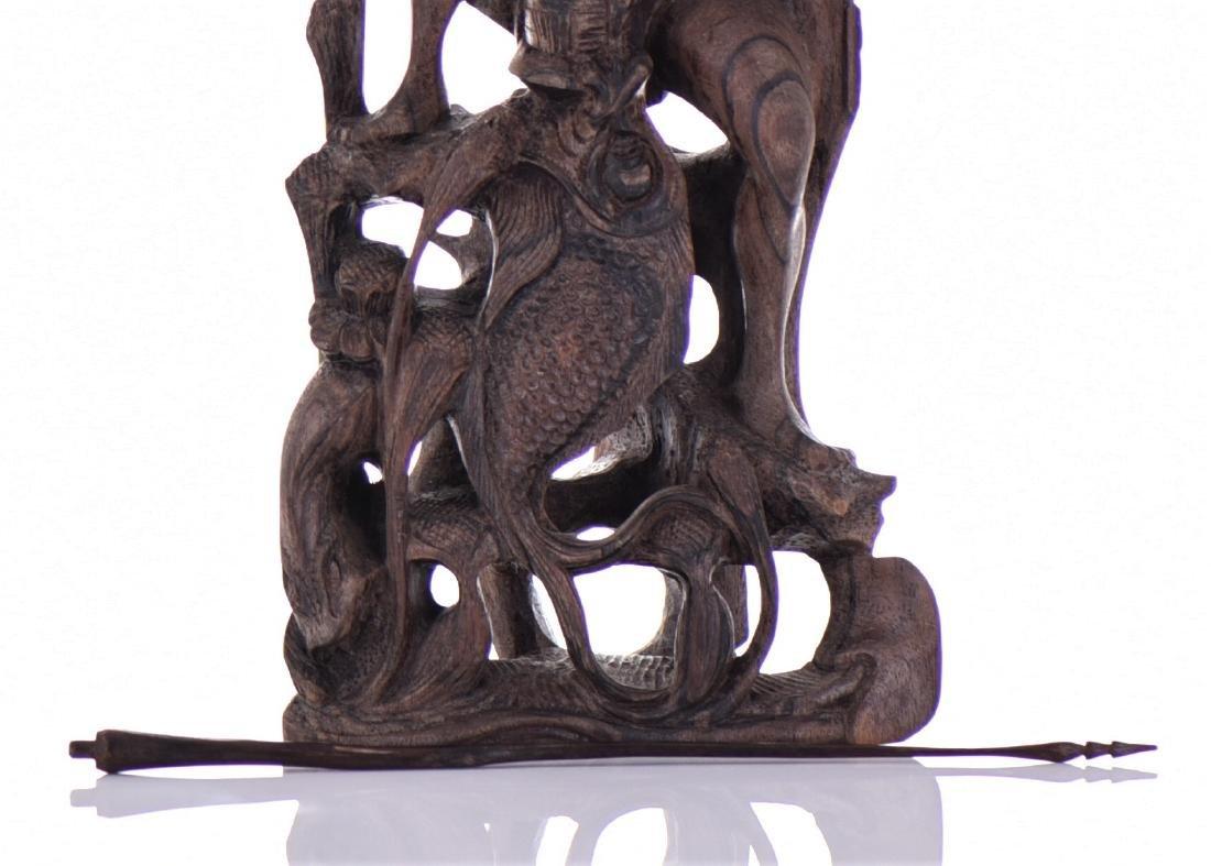 Wood Carved Fisherman Sculpture. - 5