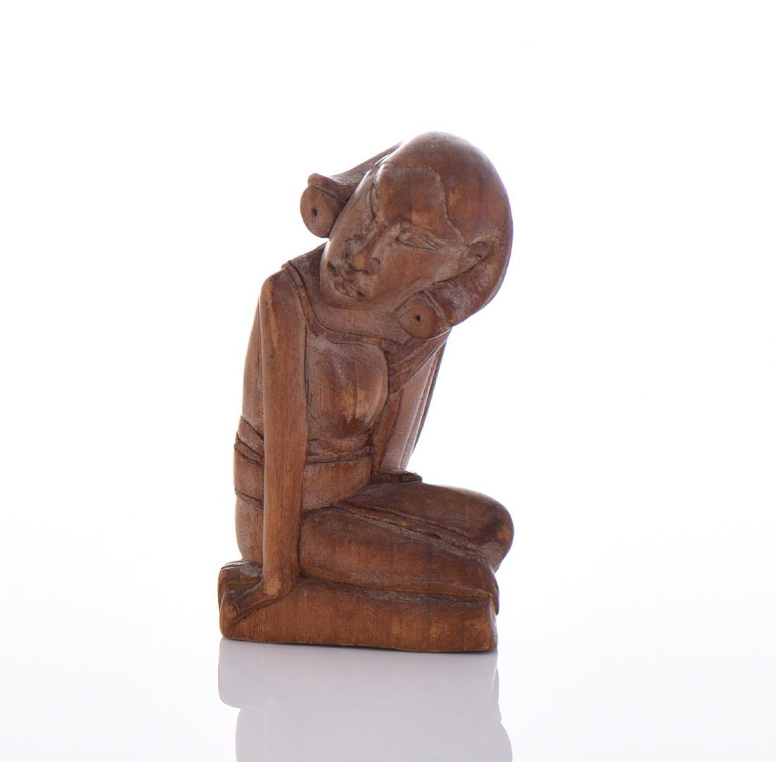 Wood Carved Sculpture Of Seated Woman.