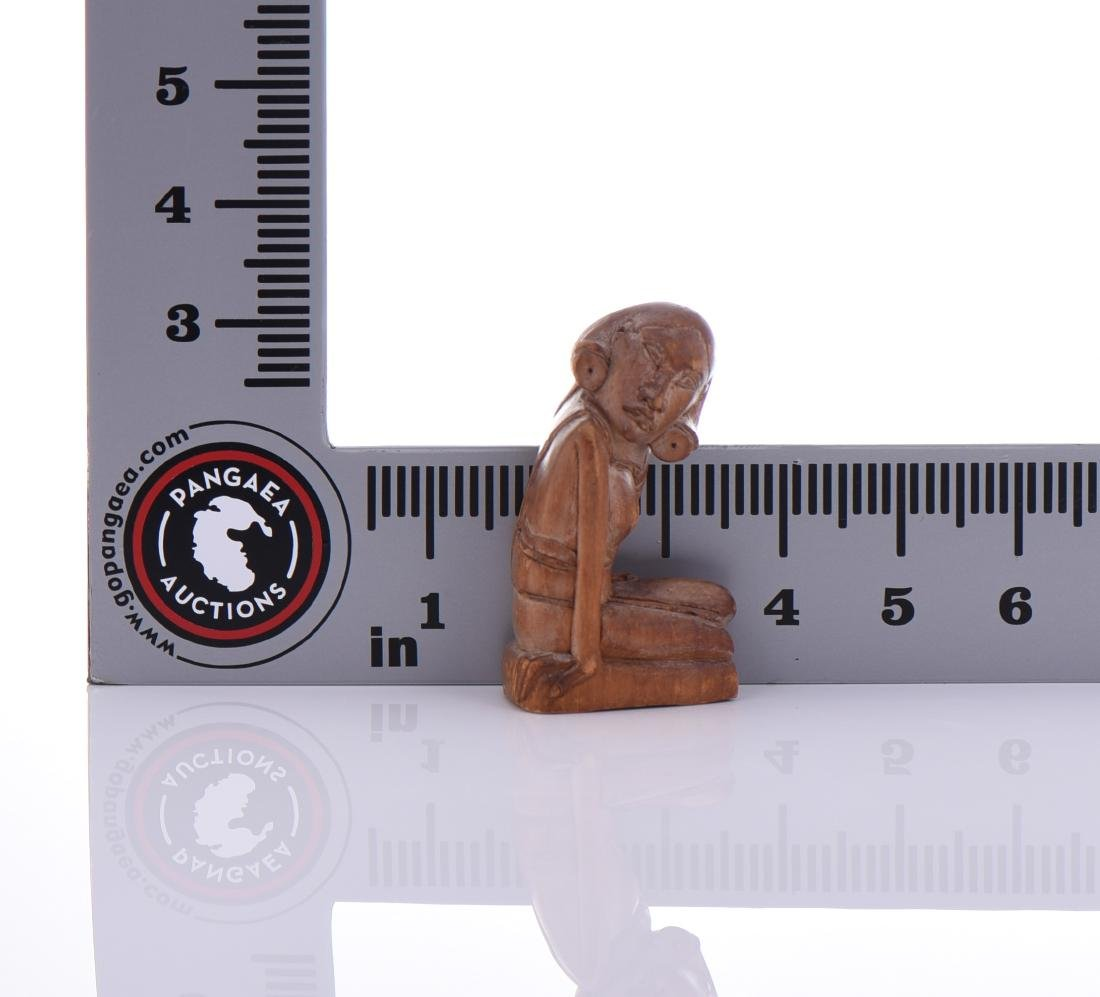 Wood Carved Sculpture Of Seated Woman. - 4