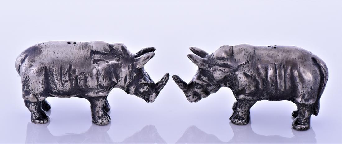 Two Metal Rhino Salt And Pepper Shakers. - 2