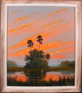 Sam Newton (1948)  Florida Highwayman.  Original Oil