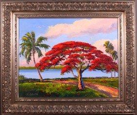3: James Gibson(1938) Florida Highwayman.  Original Oil