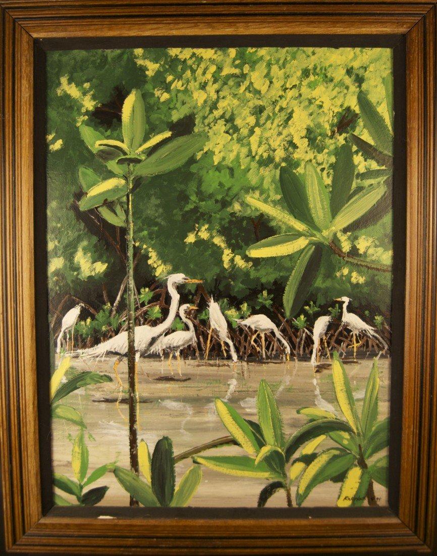 "4: Rick Worth (20th Century) Original Oil on Board ""Egr"