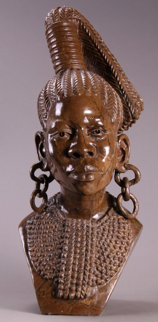 9: Nicholas Tandi (20th Century), Bust of Woman carved