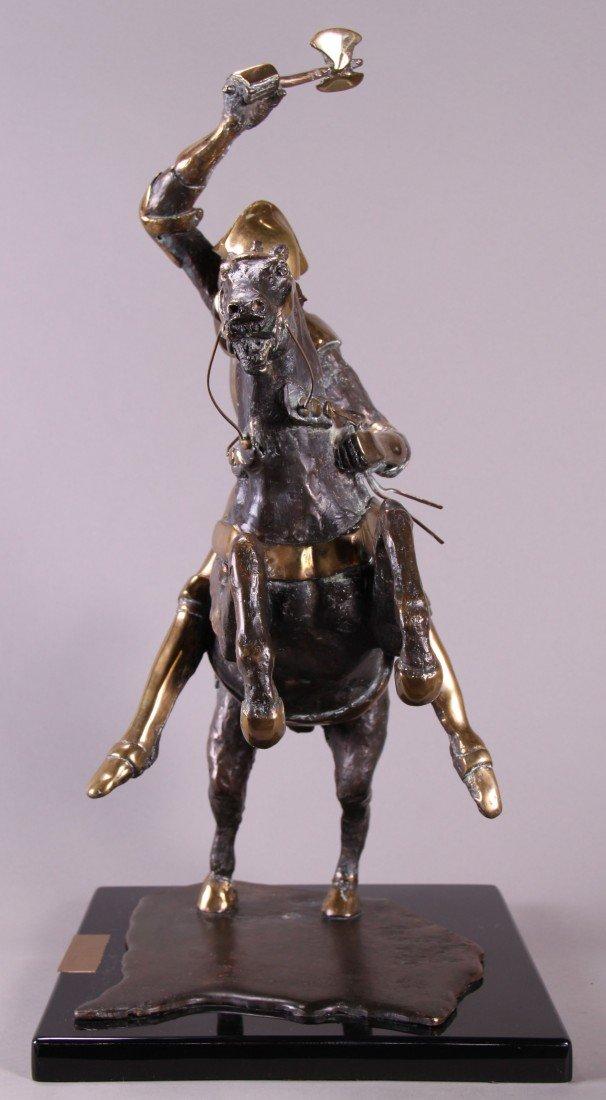 """12: Ann Taube Goodman (1905)  """"War"""", Bronze sculpture."""