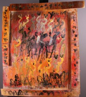 """14: Purvis Young (1943) """"Tribal Warriors""""  Oil on wood."""