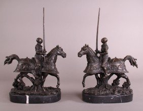 15: Pair of Bronze Jousters.  Finely detailed with marb