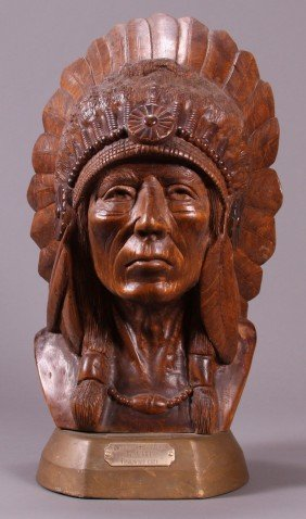 18: American Indian hand carved wooden bust.  A tribal