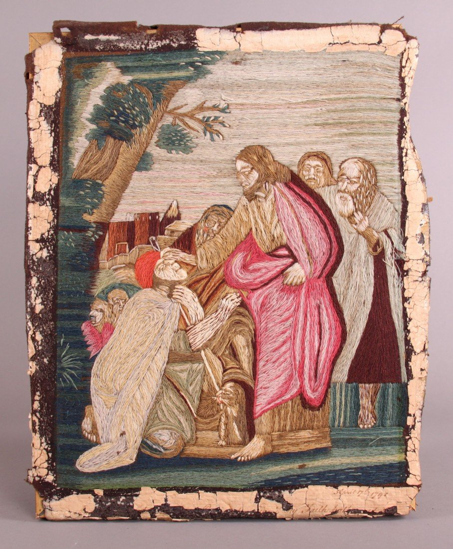 21: Crewel Silk Picture of Jesus giving blessing.  C. 1