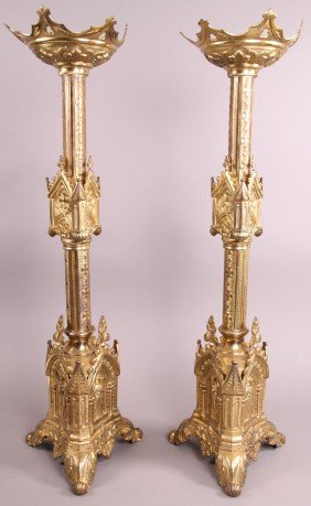 22: Church Candle Holders (Set of 2), French.  Height/L