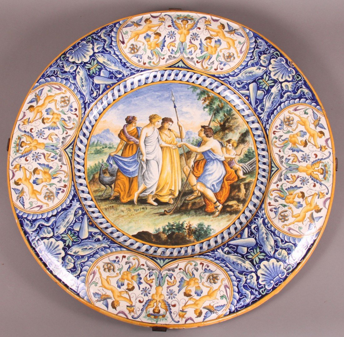 26: 19th Century Majolica Charger with convex edge.  Ha